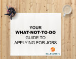 Sales Recruiter Insight Series; The 'what-not-to-do guide' to applying for jobs